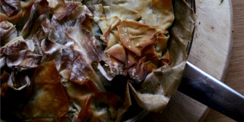 kale, bacon, feta and caramelised onion pie with filo pastry