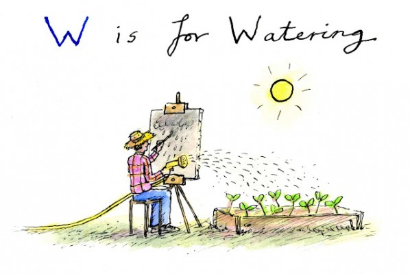W is for watering. Illustration by Greg Becker