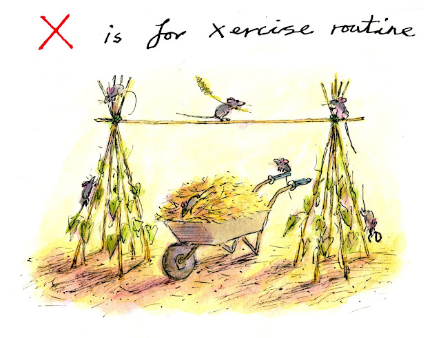 X is for exercise. Illustration by Greg Becker