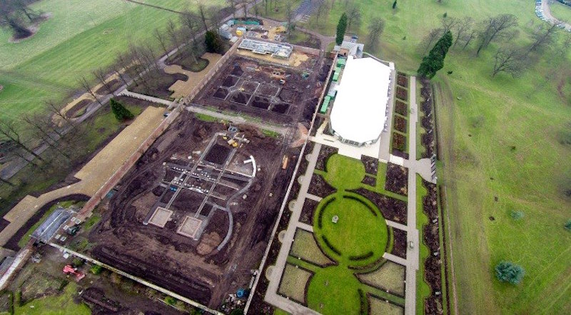 Drone Birds Eye View of the Walled Garden under construction